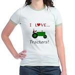I Love Green Tractors Jr. Ringer T-Shirt