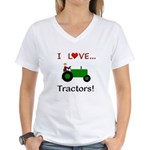 I Love Green Tractors Women's V-Neck T-Shirt