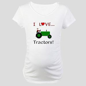 I Love Green Tractors Maternity T-Shirt