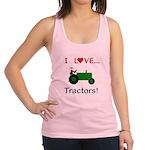 I Love Green Tractors Racerback Tank Top