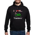 I Love Green Tractors Hoodie (dark)