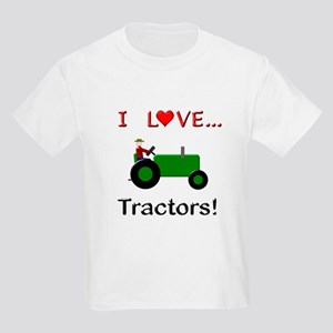 I Love Green Tractors Kids Light T-Shirt