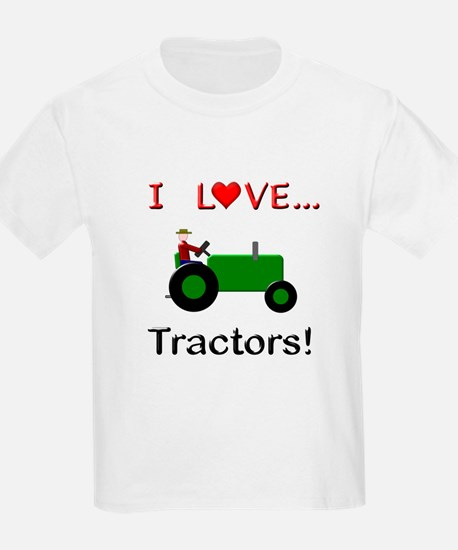 I Love Green Tractors T-Shirt