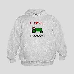 I Love Green Tractors Kids Hoodie