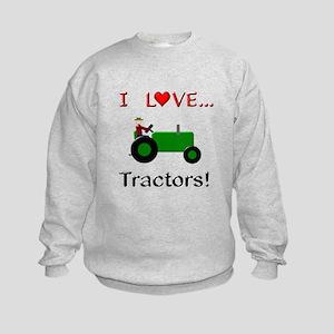 I Love Green Tractors Kids Sweatshirt