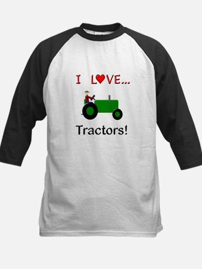 I Love Green Tractors Kids Baseball Jersey
