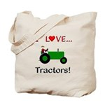 I Love Green Tractors Tote Bag