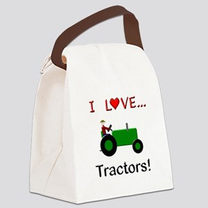 I Love Green Tractors Canvas Lunch Bag