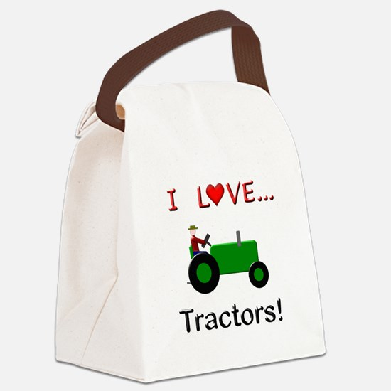 I Love Green Tractors Canvas Lunch Bag