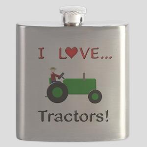 I Love Green Tractors Flask