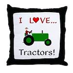 I Love Green Tractors Throw Pillow