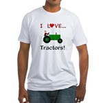 I Love Green Tractors Fitted T-Shirt