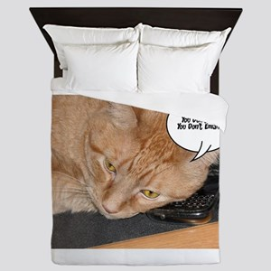 Orange Tabby Cat Cell Phone Humor Queen Duvet