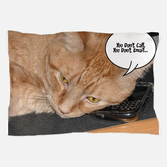 Orange Tabby Cat Cell Phone Humor Pillow Case