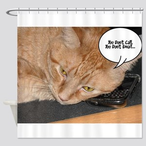 Orange Tabby Cat Cell Phone Humor Shower Curtain