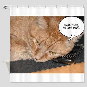 Orange Tabby Cat Cell Phone Humor Shower Curtain