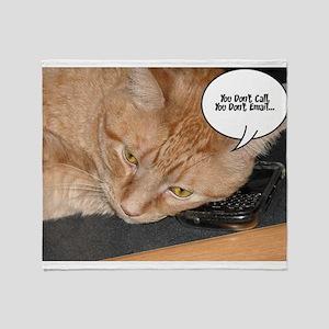 Orange Tabby Cat Cell Phone Humor Throw Blanket