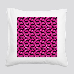 Pink Polka Dachshunds Square Canvas Pillow