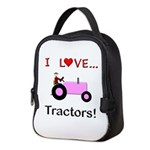 I Love Pink Tractors Neoprene Lunch Bag