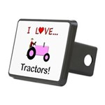I Love Pink Tractors Rectangular Hitch Cover