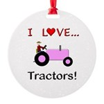 I Love Pink Tractors Round Ornament