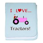 I Love Pink Tractors baby blanket