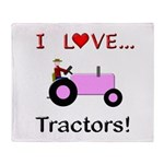 I Love Pink Tractors Throw Blanket