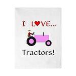 I Love Pink Tractors Twin Duvet