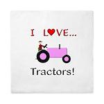 I Love Pink Tractors Queen Duvet