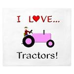 I Love Pink Tractors King Duvet