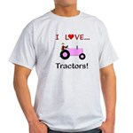 I Love Pink Tractors Light T-Shirt
