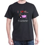 I Love Pink Tractors Dark T-Shirt