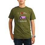 I Love Pink Tractors Organic Men's T-Shirt (dark)