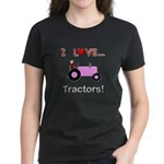 I Love Pink Tractors Women's Dark T-Shirt