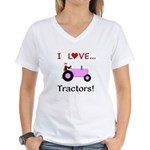 I Love Pink Tractors Women's V-Neck T-Shirt