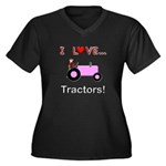 I Love Pink Tractors Women's Plus Size V-Neck Dark