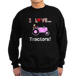 I Love Pink Tractors Sweatshirt (dark)