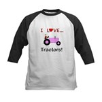 I Love Pink Tractors Kids Baseball Jersey