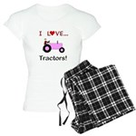 I Love Pink Tractors Women's Light Pajamas