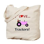 I Love Pink Tractors Tote Bag