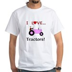 I Love Pink Tractors White T-Shirt