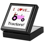 I Love Pink Tractors Keepsake Box