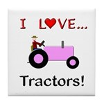 I Love Pink Tractors Tile Coaster