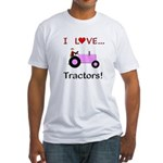 I Love Pink Tractors Fitted T-Shirt