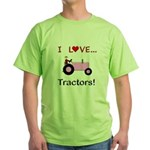 I Love Pink Tractors Green T-Shirt