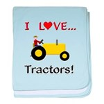 I Love Yellow Tractors baby blanket