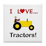 I Love Yellow Tractors Tile Coaster