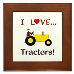 I Love Yellow Tractors Framed Tile