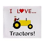 I Love Yellow Tractors Throw Blanket