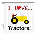 I Love Yellow Tractors Shower Curtain